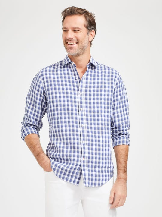 Gramercy Classic Fit Linen Shirt in Check