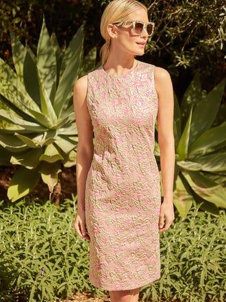 Belinda Dress in Metallic Palm Leaf Jacquard