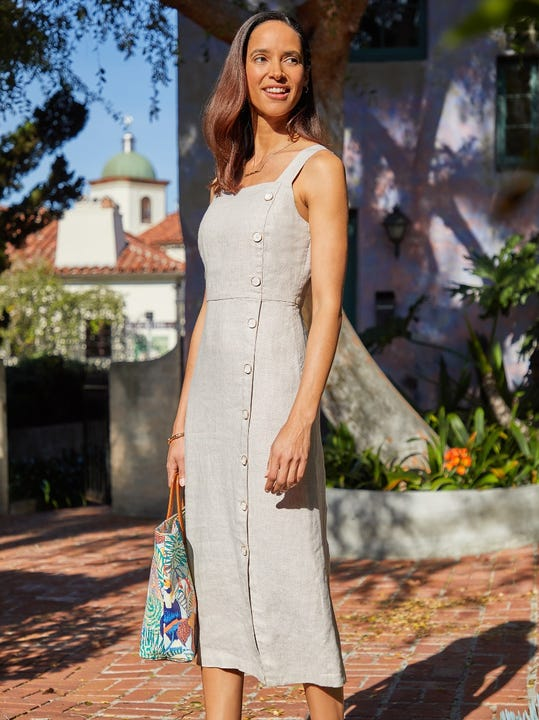 Leah Linen Midi Dress