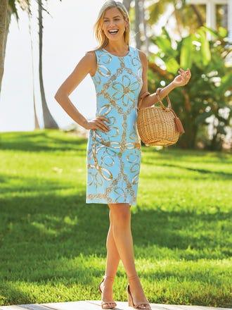 Sophia Sleeveless Dress in Heraldic Loop