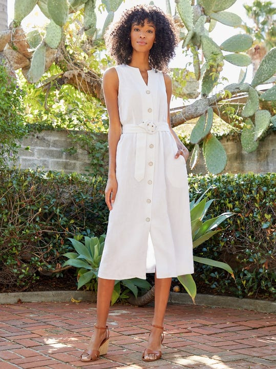 Bettina Linen Midi Dress