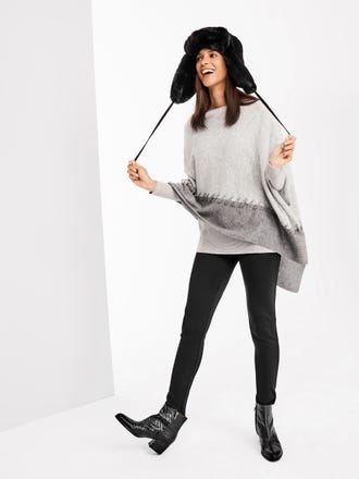 Raakel Cashmere Poncho in Colorblock