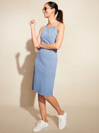 Maria Halter Dress in Saddle Geo