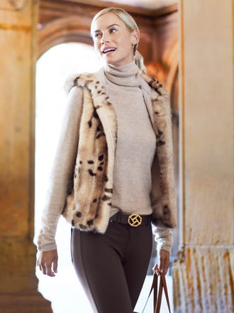 Cordelia Faux Fur Vest in Spot