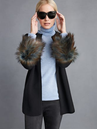 Prix Cardi Coat With Faux Fur Trim