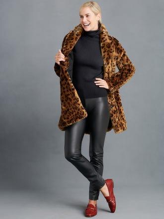 Savine Faux Fur Coat in Cheetah Jacquard