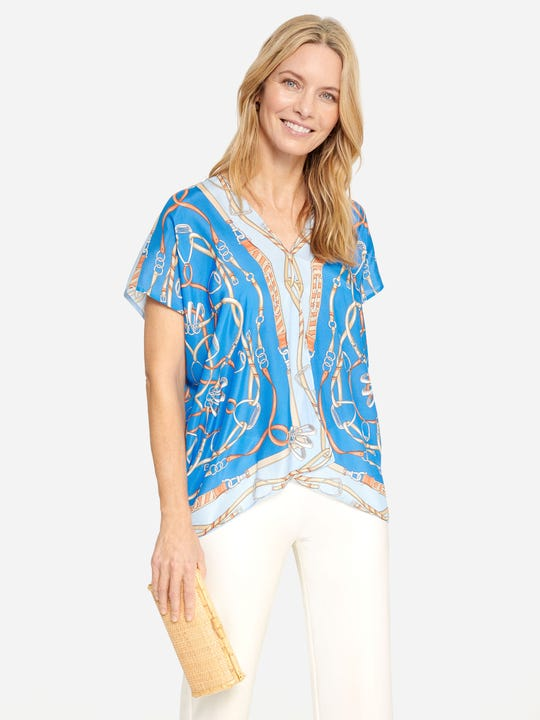 Adair Silk Scarf Top in Neo Ascot