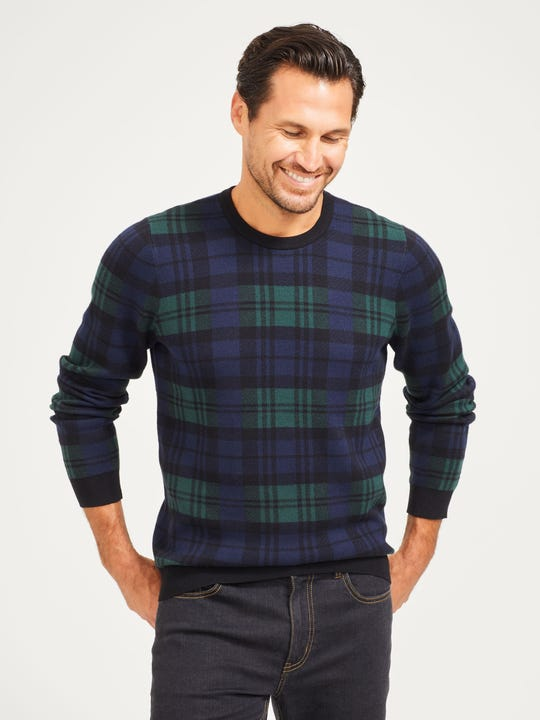 Aidan Sweater in Plaid Jacquard