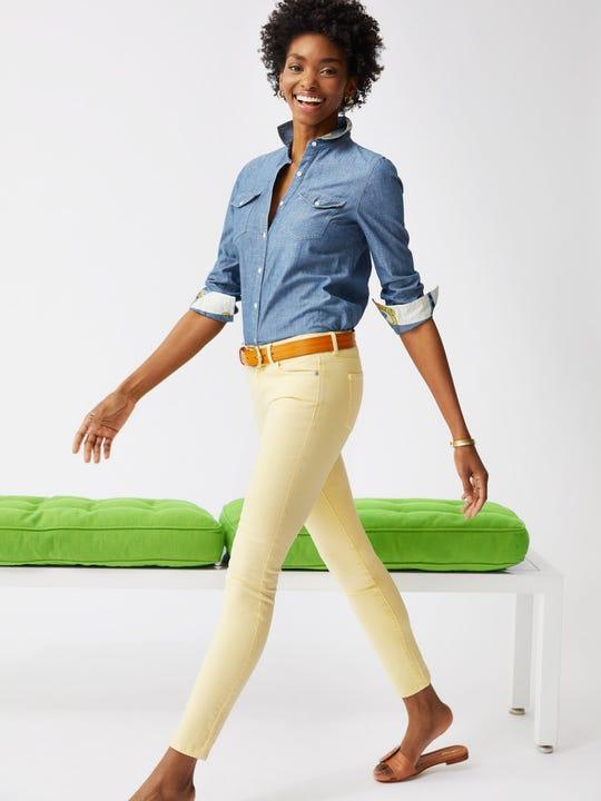 Model wearing J.McLaughlin Jaycie Jeans in light yellow