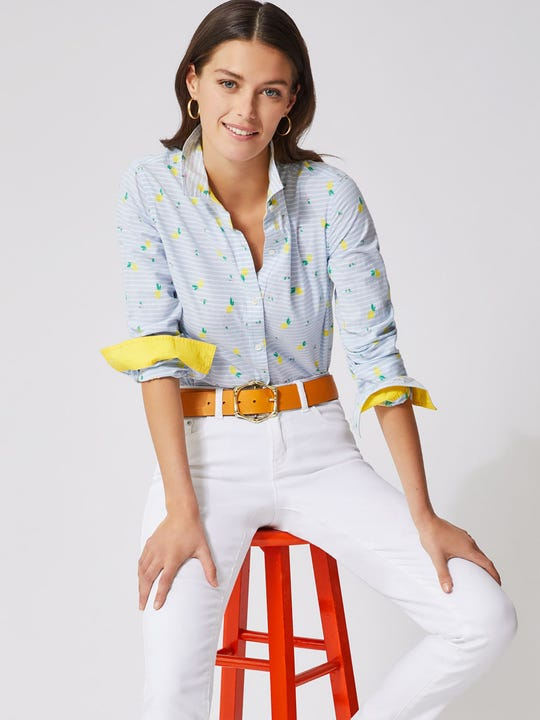 Model wearing J.McLaughlin Lois Shirt in Lemon Fil Coupe  in blue/white/yellow made with cotton fabric.