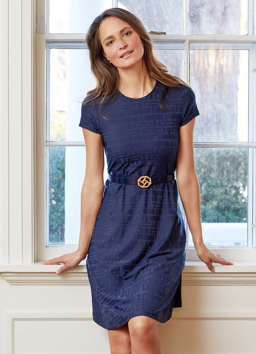 Model wearing J.McLaughlin Swing Dress in Bamboo Geo Jacquard  in navy made with Catalina cloth fabric.