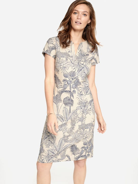 Ariana Dress in Palm Jacquard