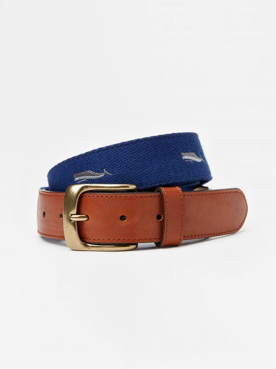 Ashton Embroidered Belt in Whale