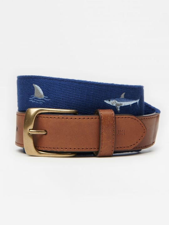 Ashton Embroidered Belt in Shark with Fin