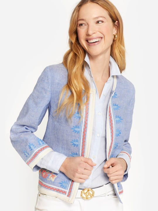 Beatrix Embroidered Linen Jacket