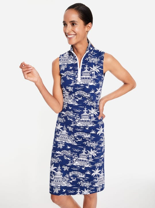 Bedford Sleeveless Dress in Tongsai Palms