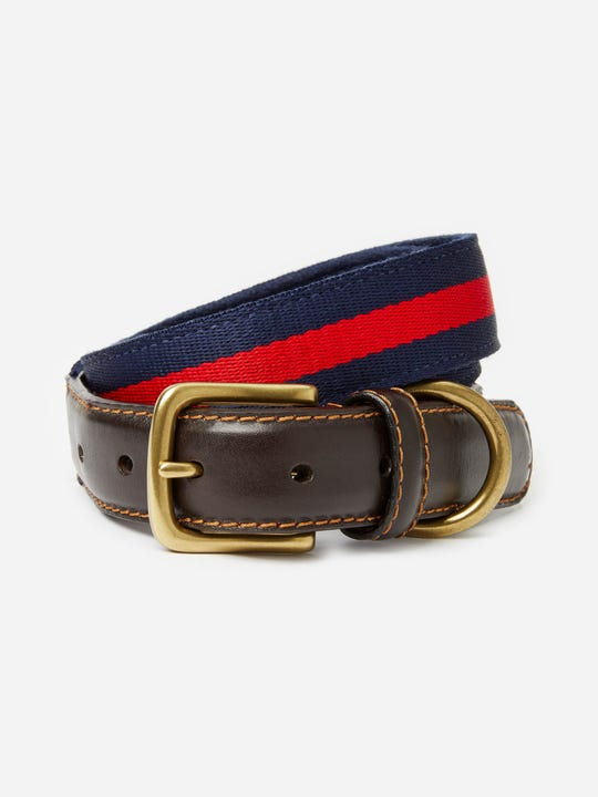 J.Mclaughlin Bryan Stripe  belt in navy and red made in leather fabric.