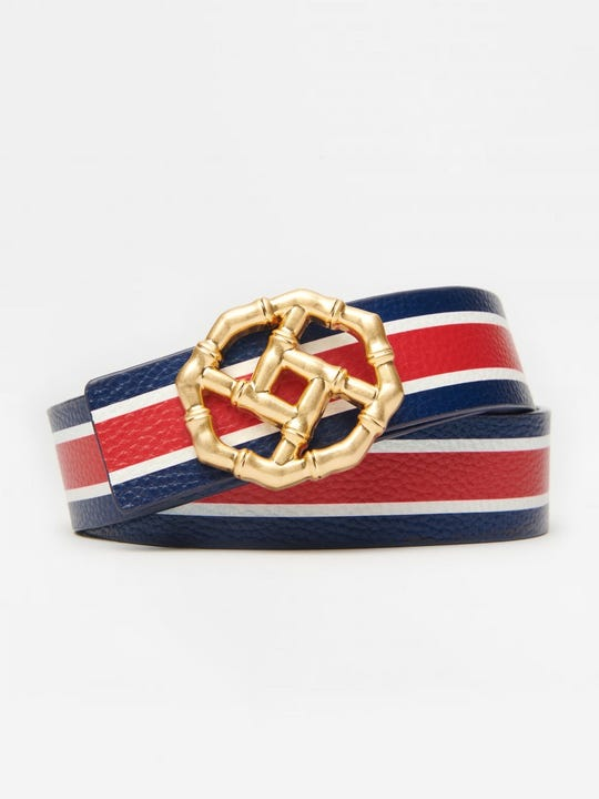 Ruby Reversible Leather Belt in Stripe