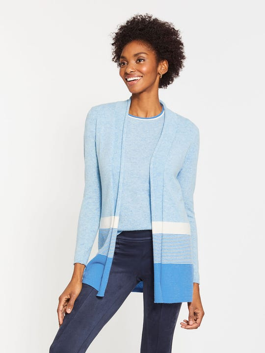 Brigid Cashmere Cardigan in Stripe