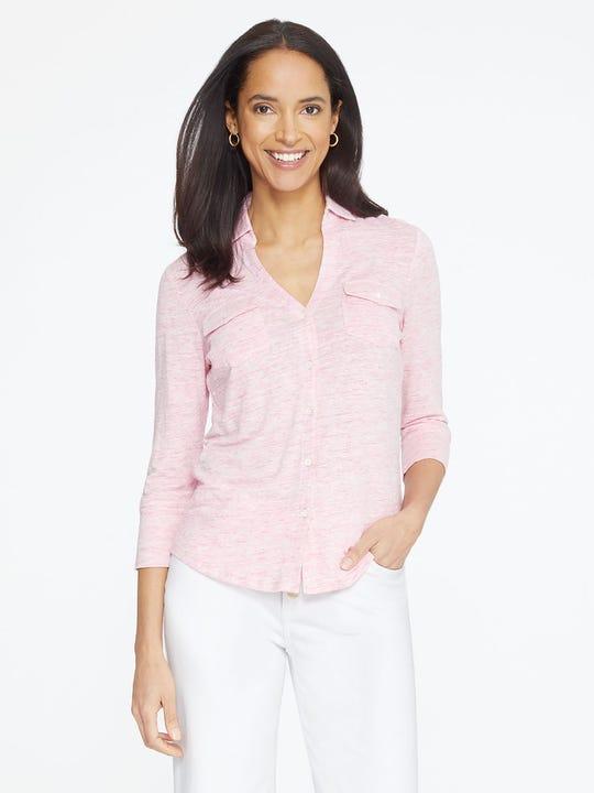Model wearing J.McLaughlin Brynn Linen Shirt  in rose pink made with linen fabric.