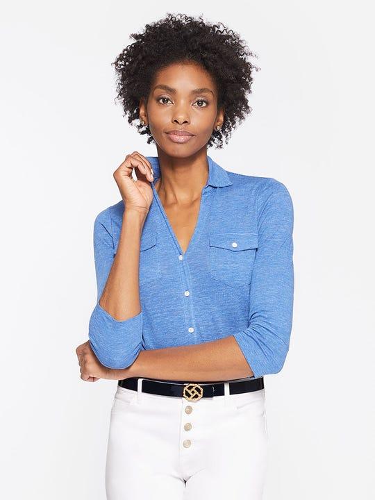Model wearing J.McLaughlin Brynn Linen Shirt in regatta blue made with linen fabric.
