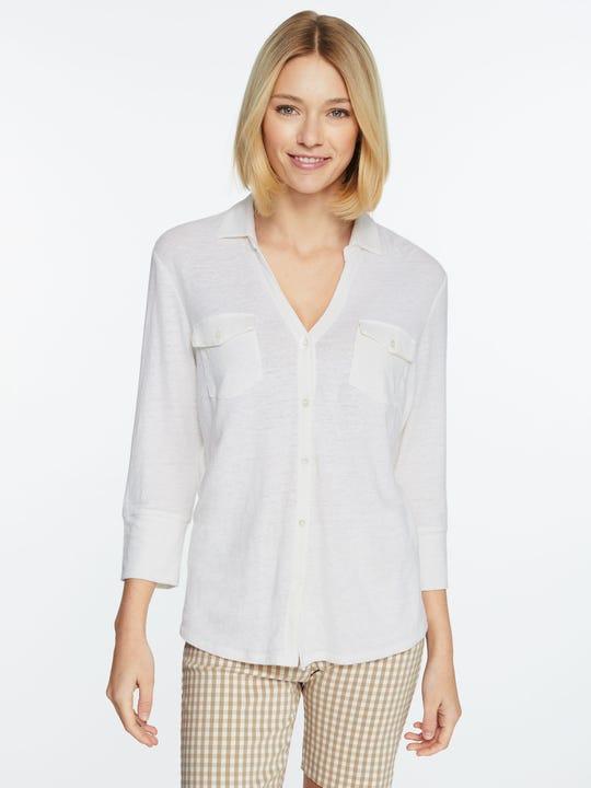 Model wearing J.McLaughlin Brynn Linen Shirt in white made with linen fabric.