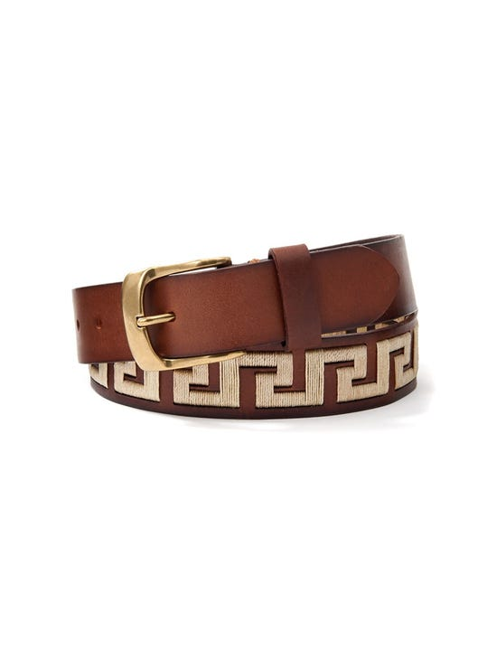 Caerus Leather Belt in Greek Key