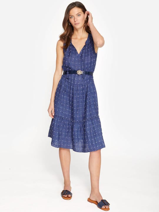 Christa Linen Dress in Dots