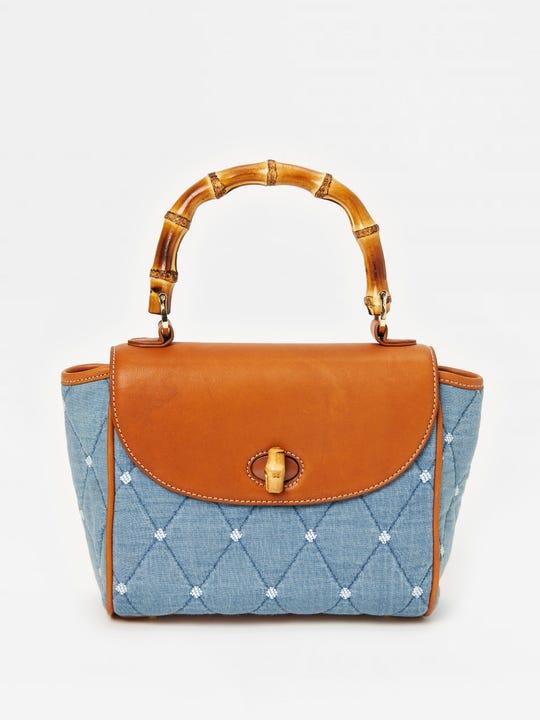 Darcie Quilted Denim Handbag