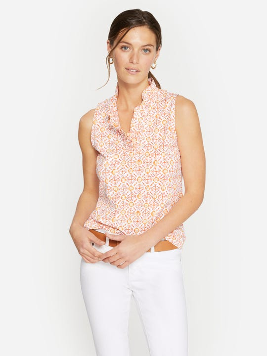 Durham Sleeveless Ruffle Top in Hannover