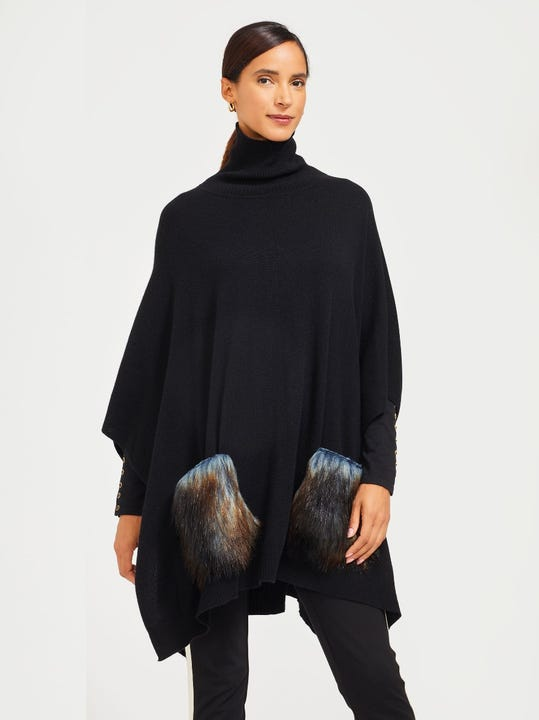 Ella Poncho with Faux Fur Pockets