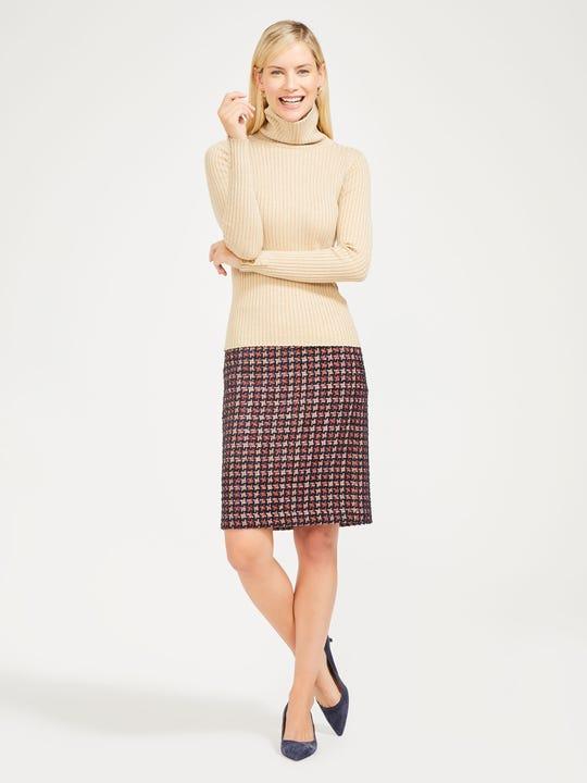 Elm Skirt in Metallic Tweed Houndstooth