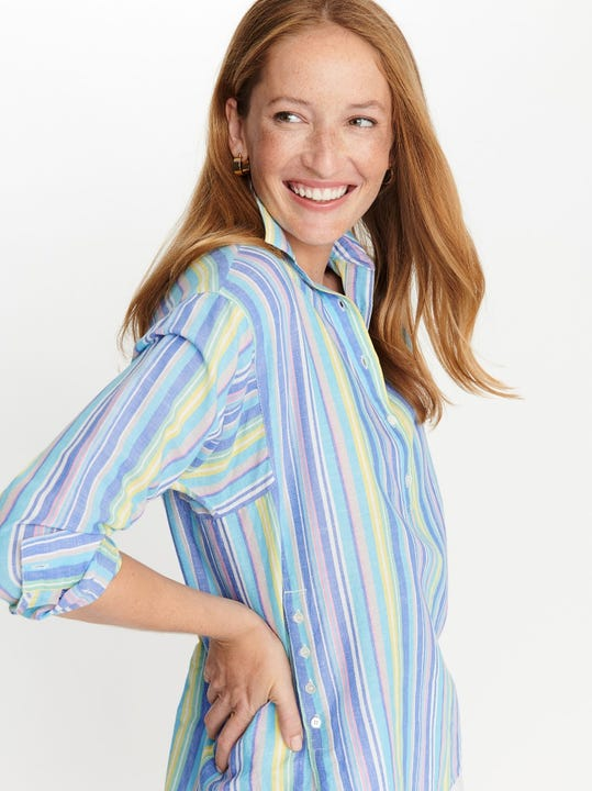 Fallon Shirt in Crayon Multi Stripe