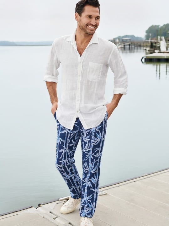 Laird Linen Pants in Prism Palm