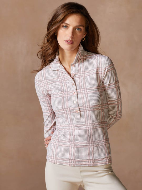 Court 3/4 Sleeve Polo in Hilltop Plaid