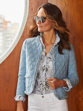 Helene Quilted Jacket in Diamond Jacquard