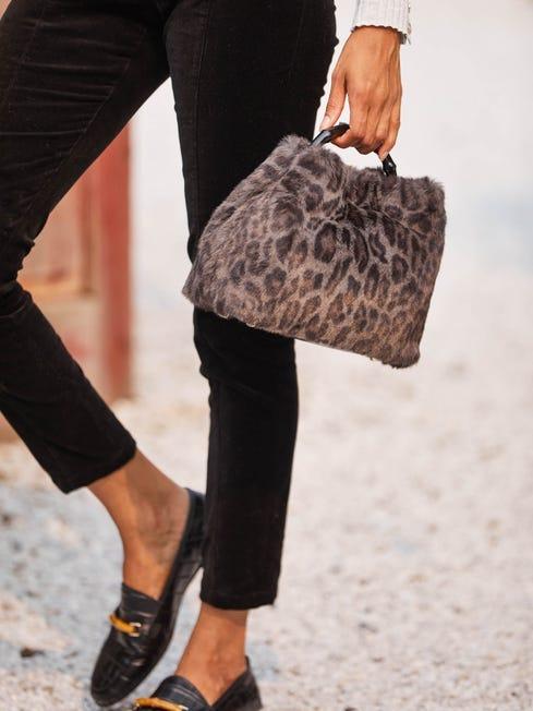 J.McLauglin Fiona handbag in grey/brown made with faux fur.