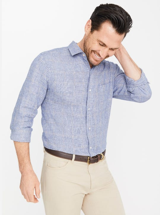Gramercy Classic Fit Linen Shirt in Window Pane