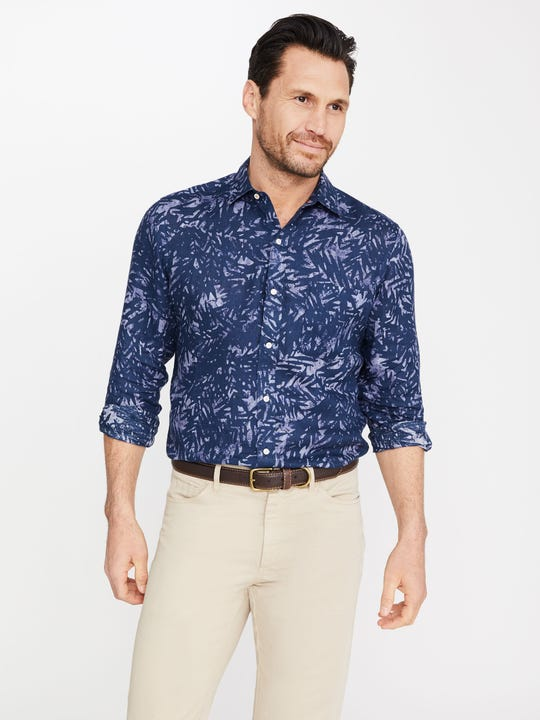 Gramercy Classic Fit Linen Shirt in Abstract Leaf