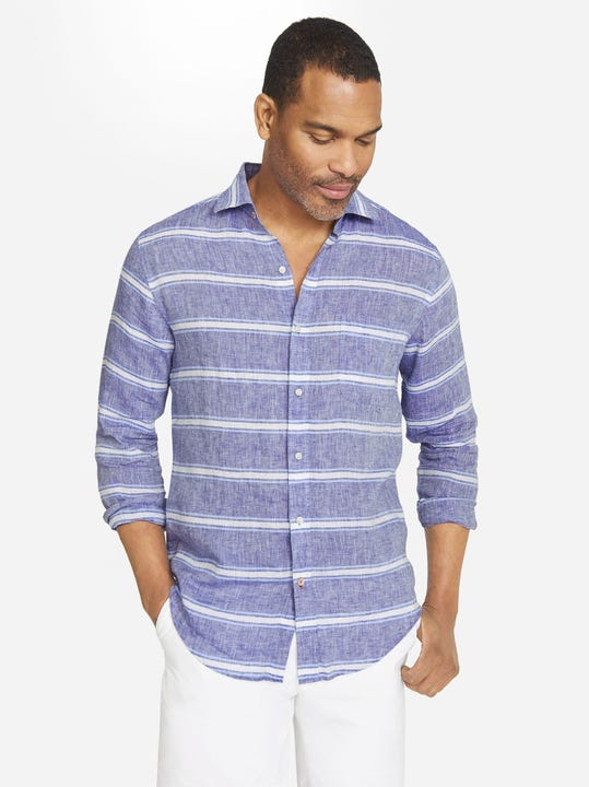 Gramercy Classic Fit Linen Shirt in Horizontal Stripe
