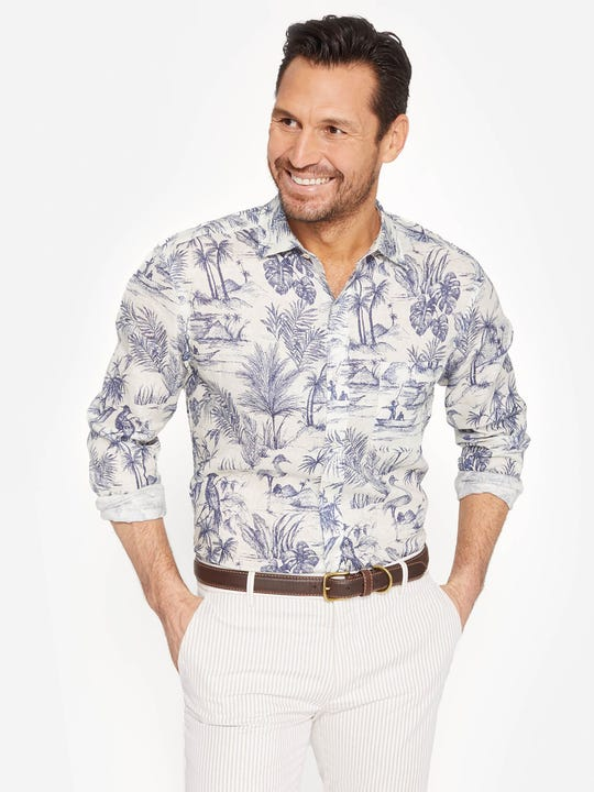 Gramercy Classic Fit Linen Shirt  in Heron Toile