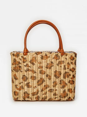 Jill Wicker Bag in Leopard