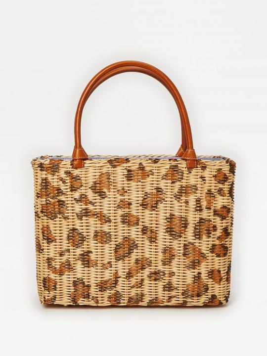 Jill Wicker Bag in Leopard