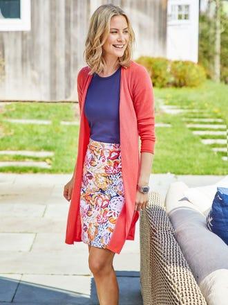 Halle Reversible Skirt in Gardenia Quotation