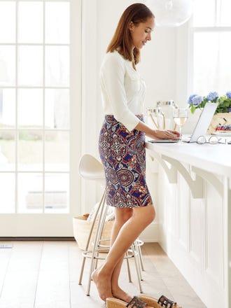 Halle Reversible Skirt in Aster Sketch Geo