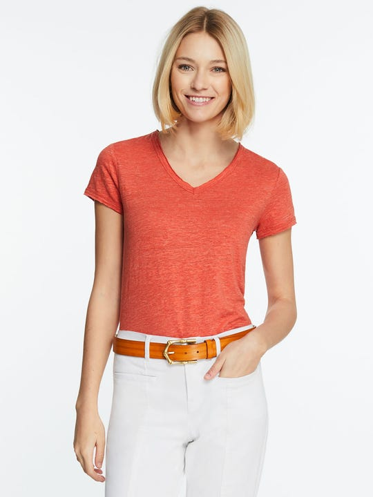 Model wearing J.McLaughlin Kacey Linen Tee in orange made with linen fabric.