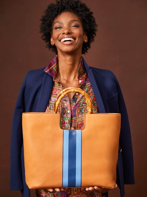 J.McLauglin Laurana handbag in natural/blue made with leather.