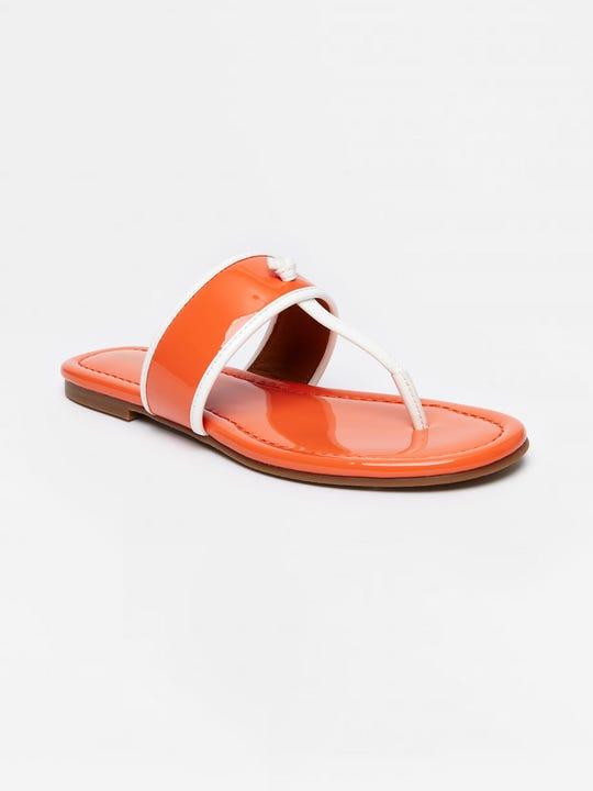 Leslie Patent Leather Flip Flops