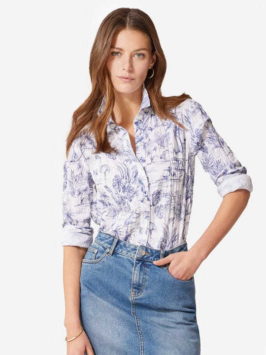 Lois Shirt in Heron Toile