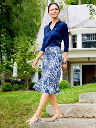 Louisa May Skirt in Cobblestone Bias